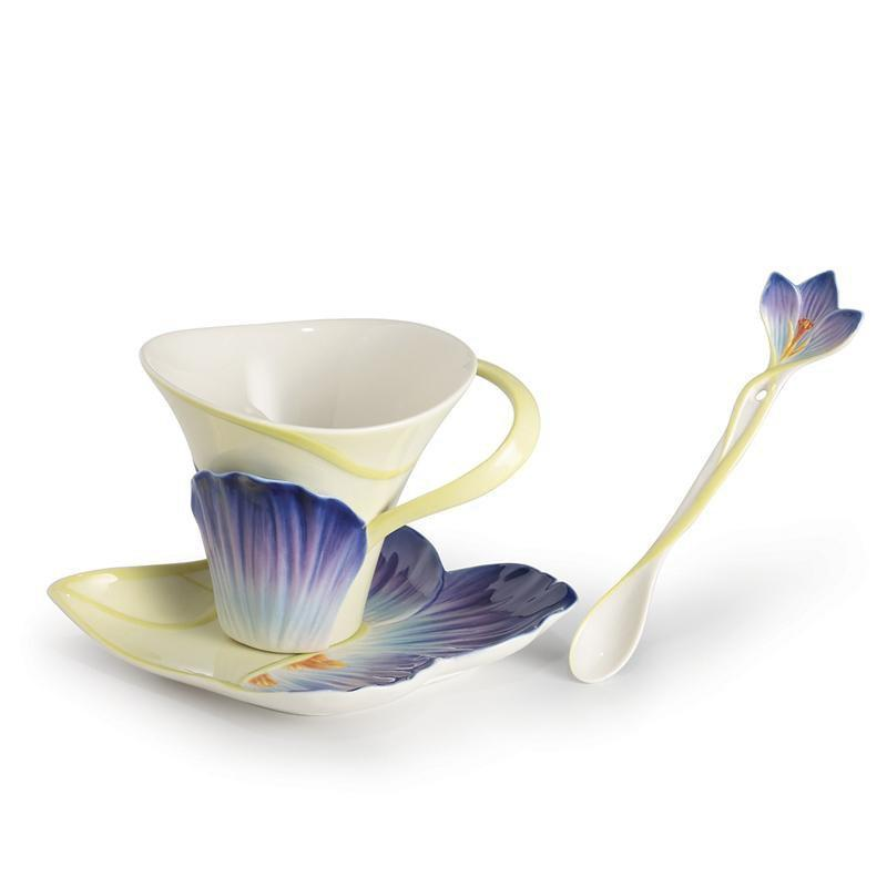 Franz Collection Symphony Of Four Seasons Winter Crocus Teacup Saucer & Spoon FZ02649
