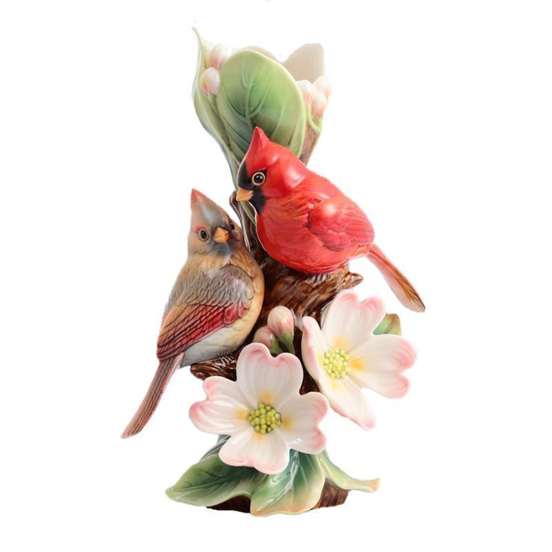 Franz Collection Tender Affection Cardinals Dogwood Vase Small FZ02934