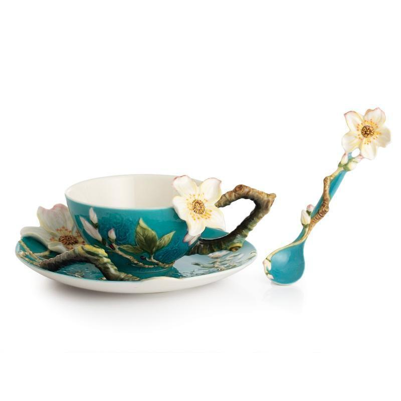 Franz Collection Van Gogh Almond Flower Teacup Saucer & Spoon FZ02452