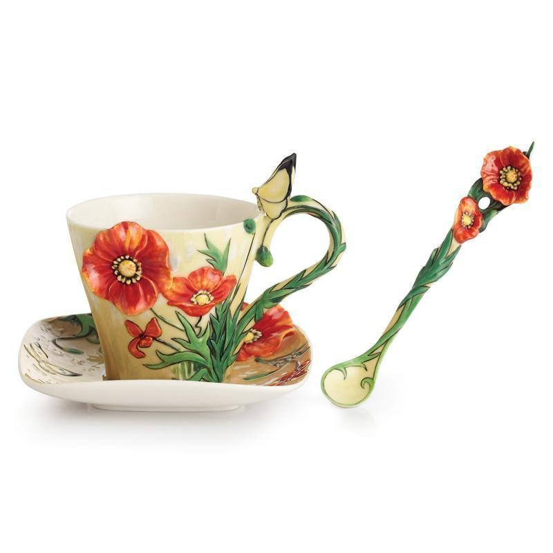 Franz Collection Van Gogh Poppy Flower Teacup Saucer & Spoon FZ02455