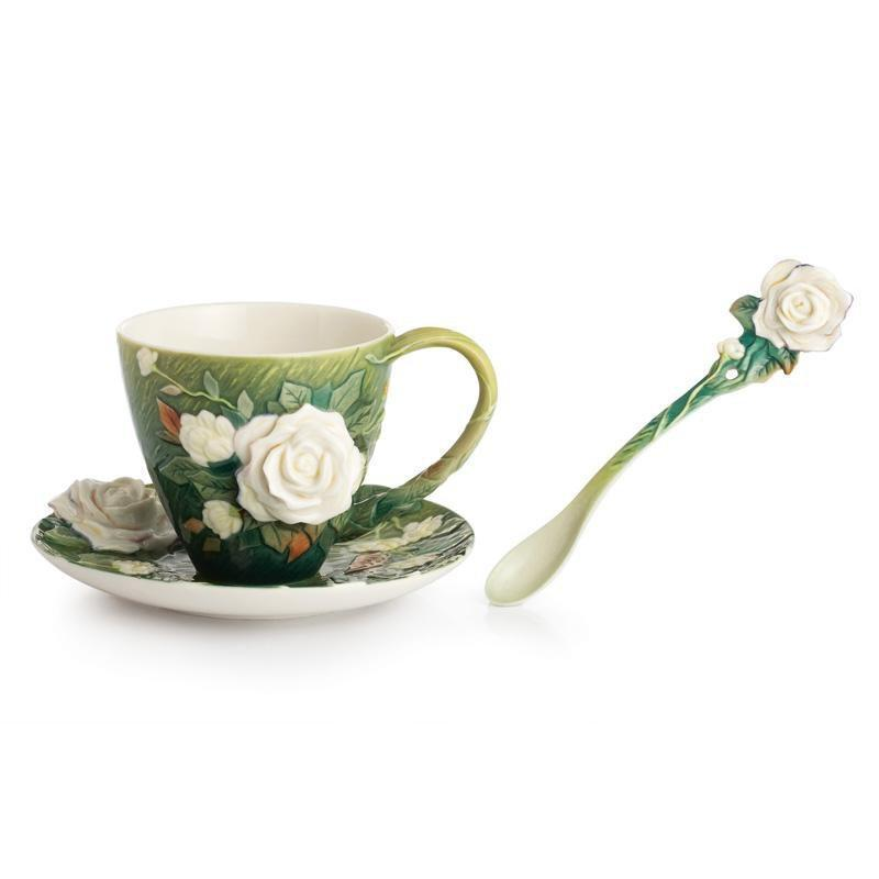 Franz Collection Van Gogh White Roses Teacup Saucer & Spoon FZ02461