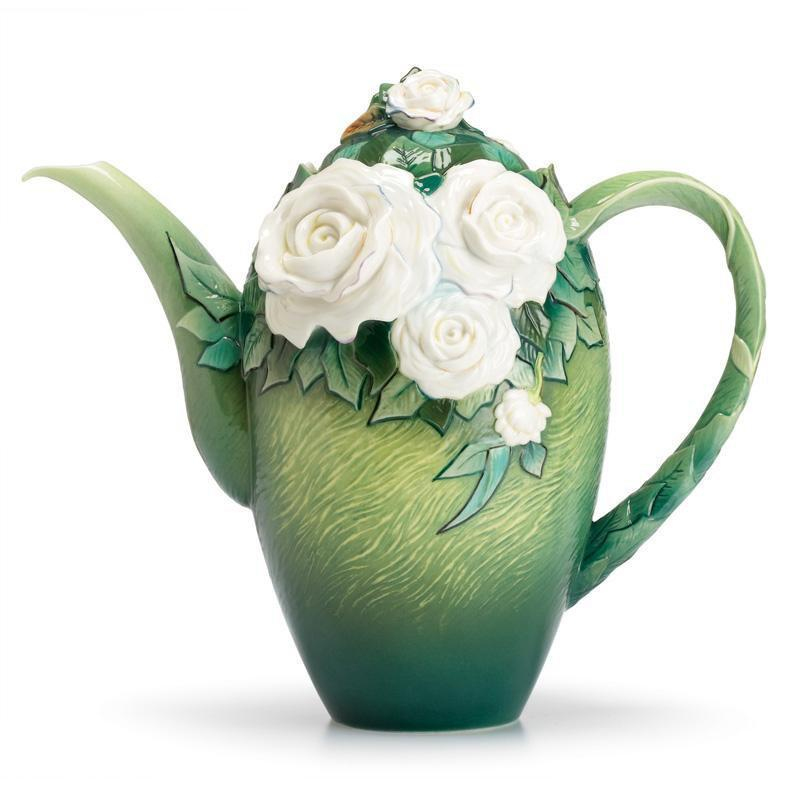 Franz Collection Van Gogh White Roses Teapot FZ02569
