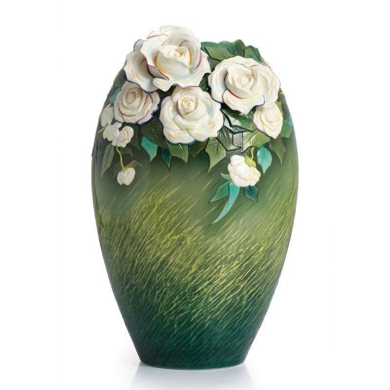 Franz Collection Van Gogh White Roses Vase FZ02407