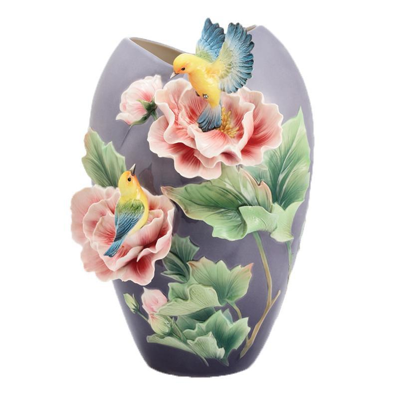 Franz Collection Warbler Taiwan Cotton Rose Vase FZ02941