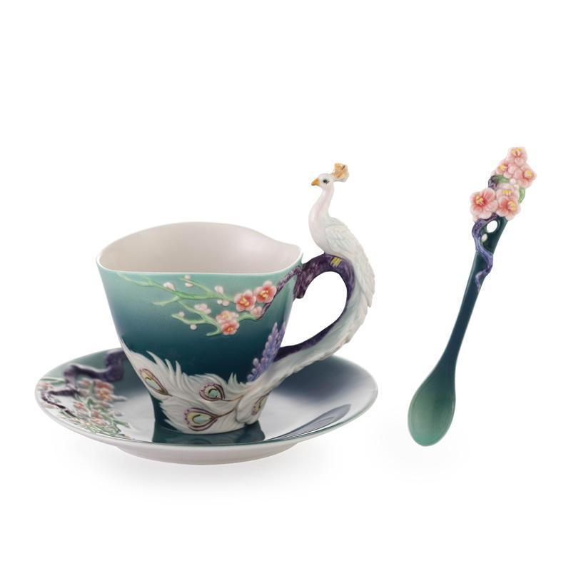 Franz Collection White Peacock Cup Saucer & Spoon FZ03555