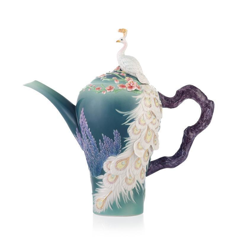 Franz Collection White Peacock Teapot FZ03556