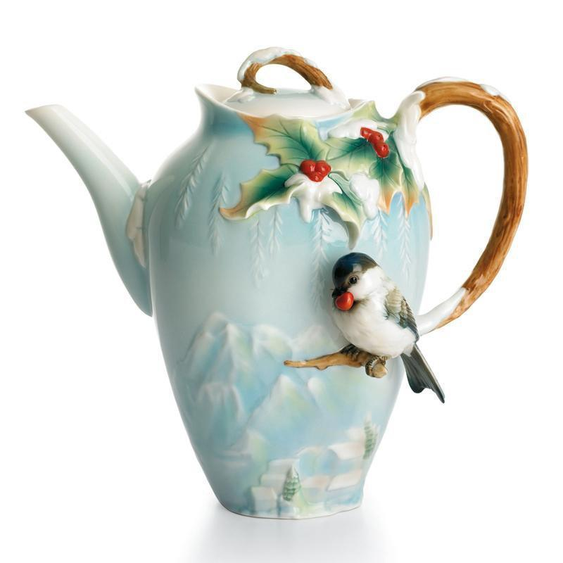 Franz Collection Winter Wonderland Chickadee Teapot FZ01495