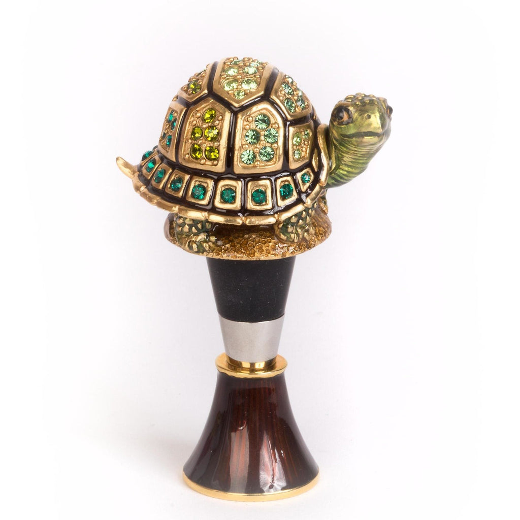 Jay Strongwater Evan Turtle Wine Stopper & Stand Natural SDH6615-280