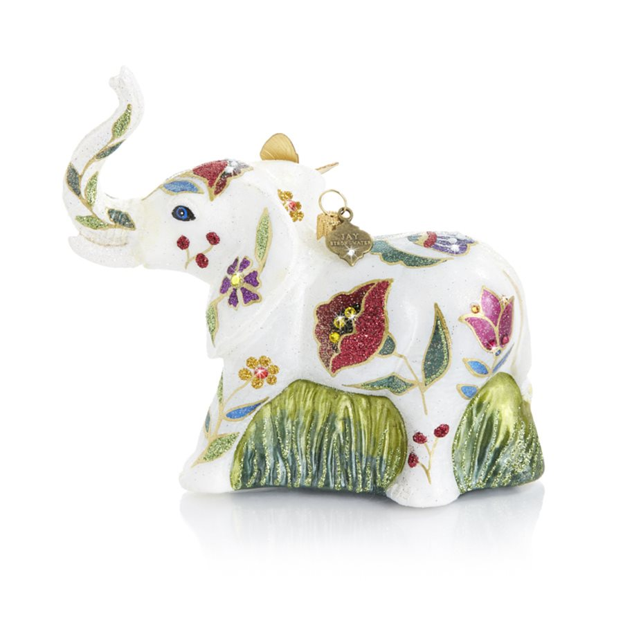 Jay Strongwater Floral Elephant Glass Ornament SDH2073-202