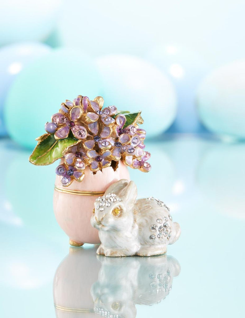 Jay Strongwater Floret Lilac Egg Bunny Box SDH7411-256