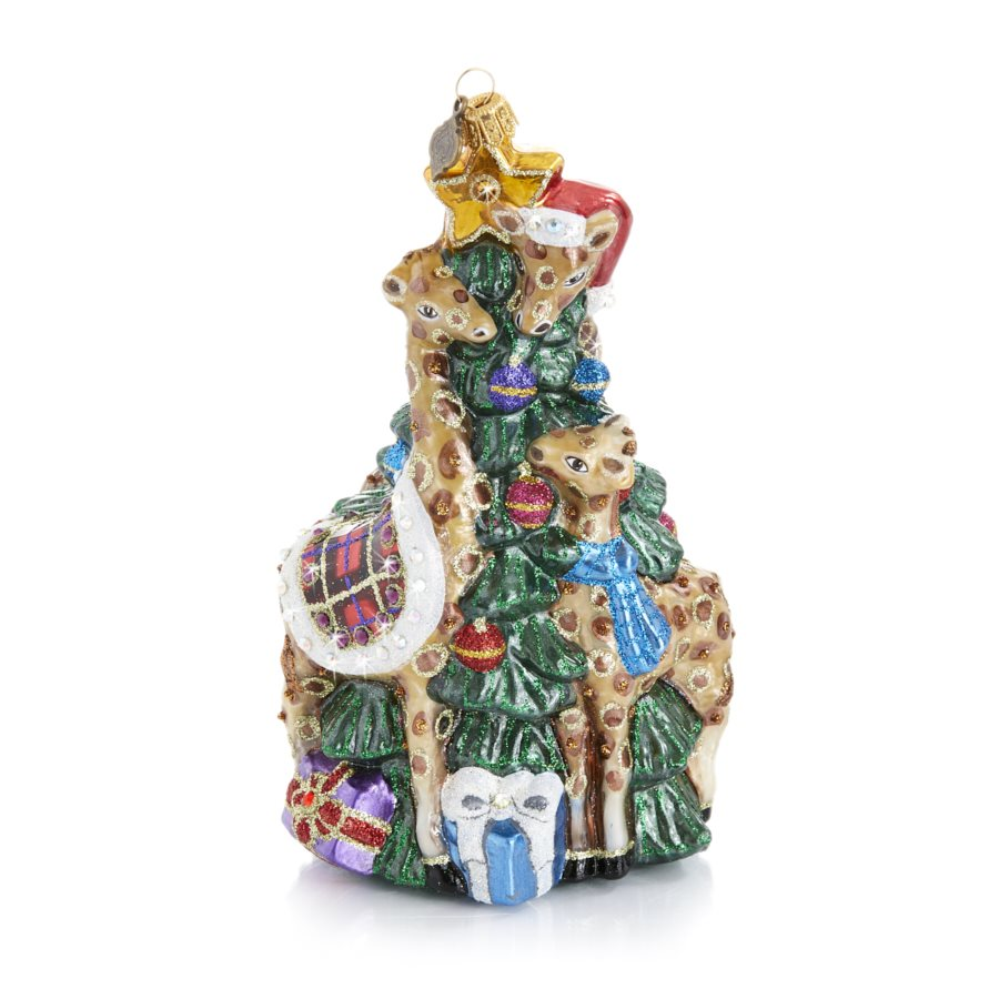 Jay Strongwater Giraffe Family Decorating Tree Glass Ornament SDH20014-250