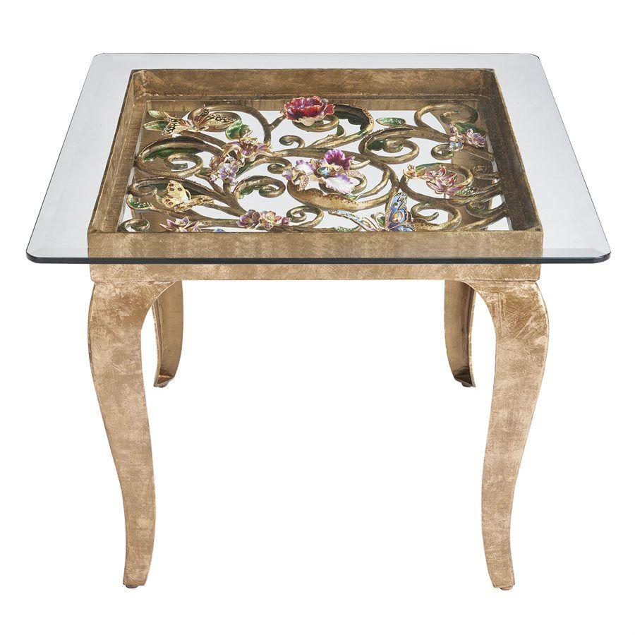 Jay Strongwater Josephine Floral Side Table SHW3324-450
