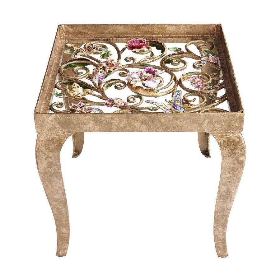 Jay Strongwater Josephine Floral Side Table SHW3324-452