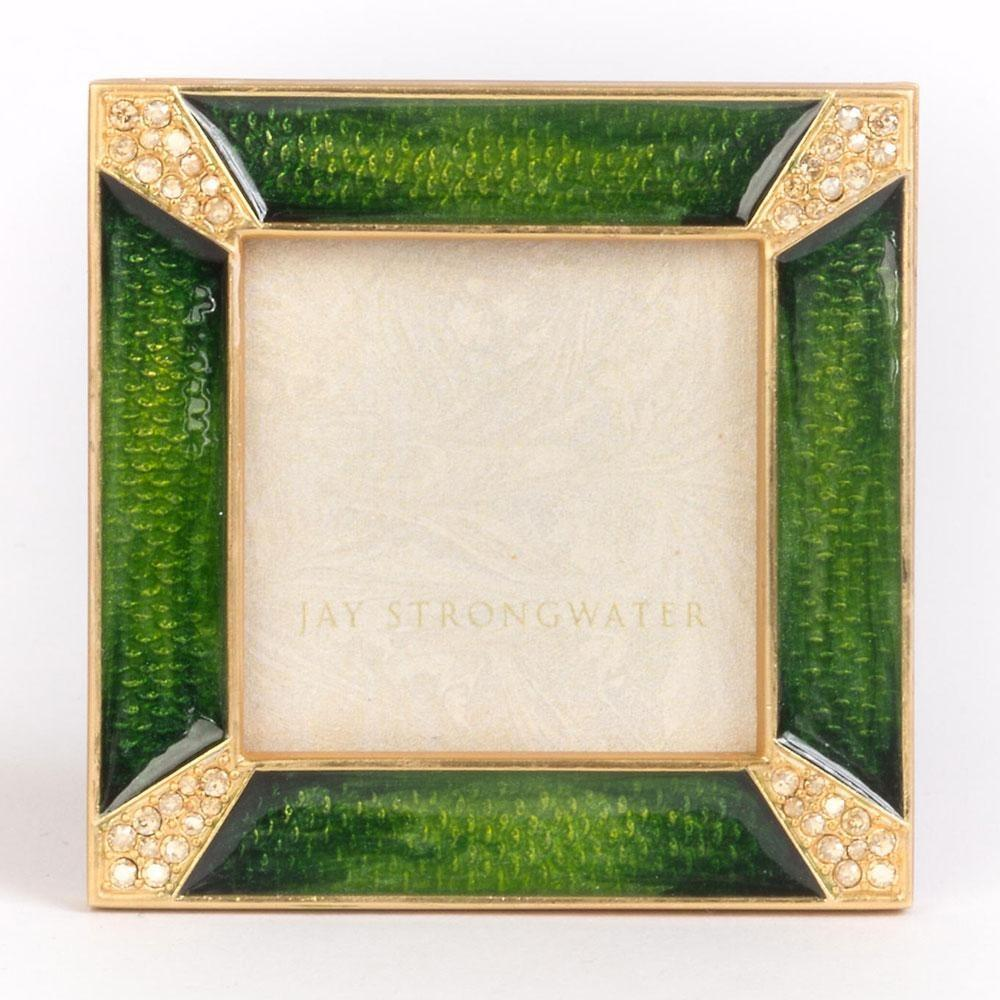"Jay Strongwater Leland Pave Corner 2"" Square Frame Emerald SPF5130-242"