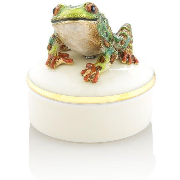 Jay Strongwater Mac Frog Round Porcelain Box SDH7385-280