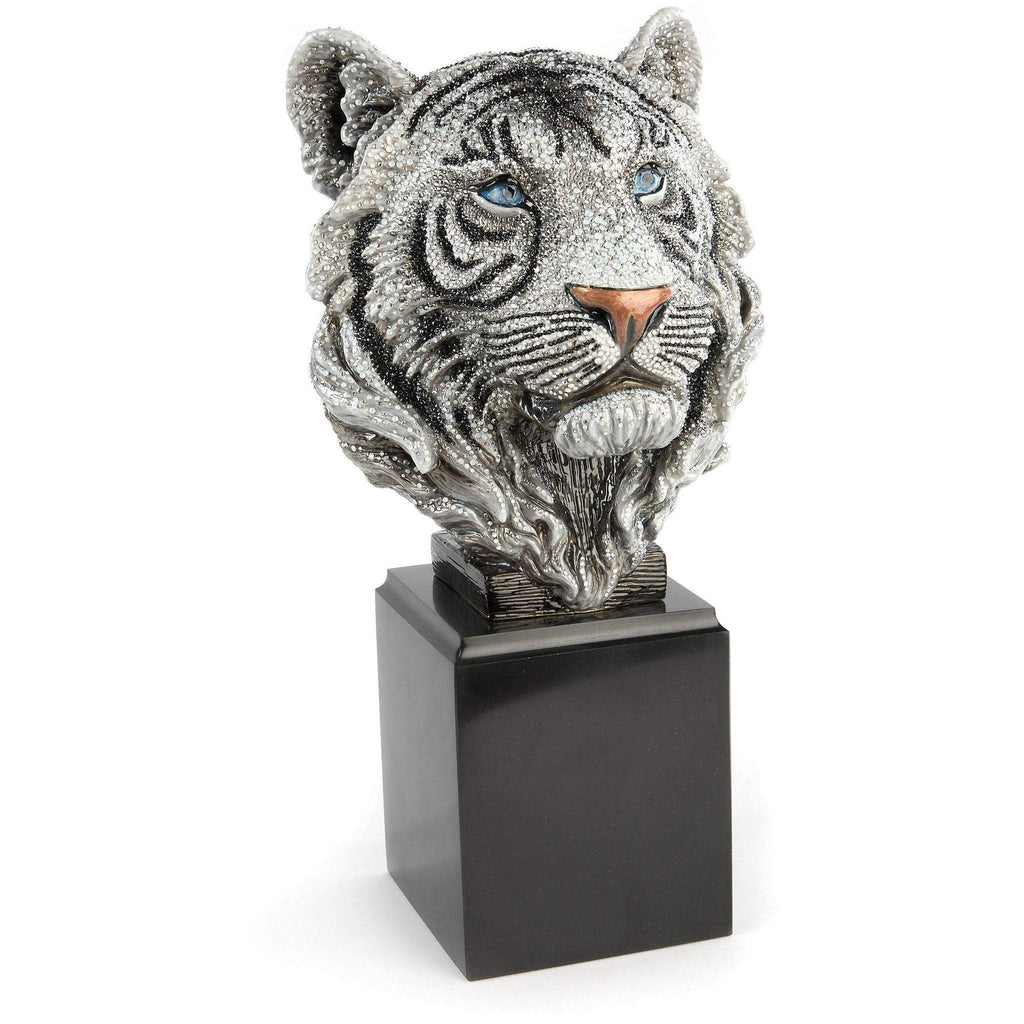 Jay Strongwater Monroe Tiger Head Figurine Jet Crystal SDH2462-270