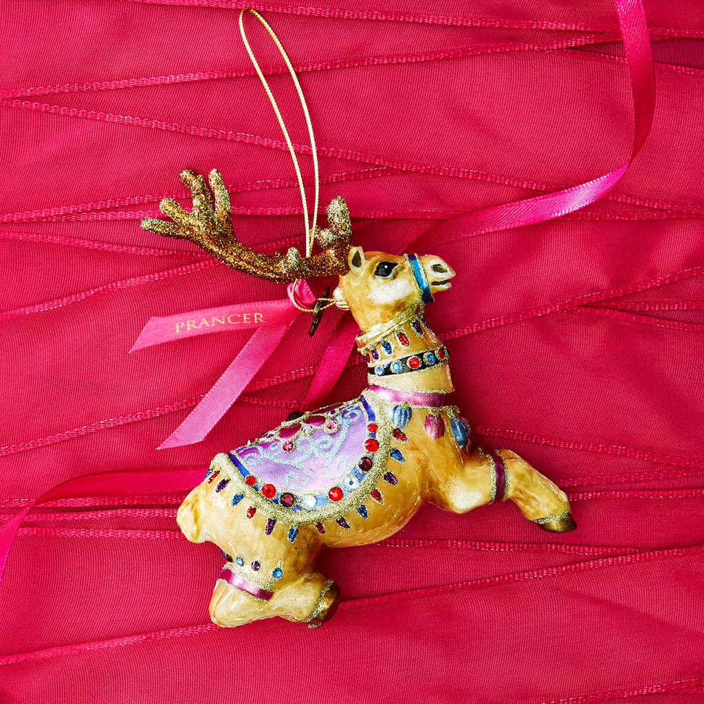 Jay Strongwater Reindeer Prancer Glass Ornament SDH2277-207