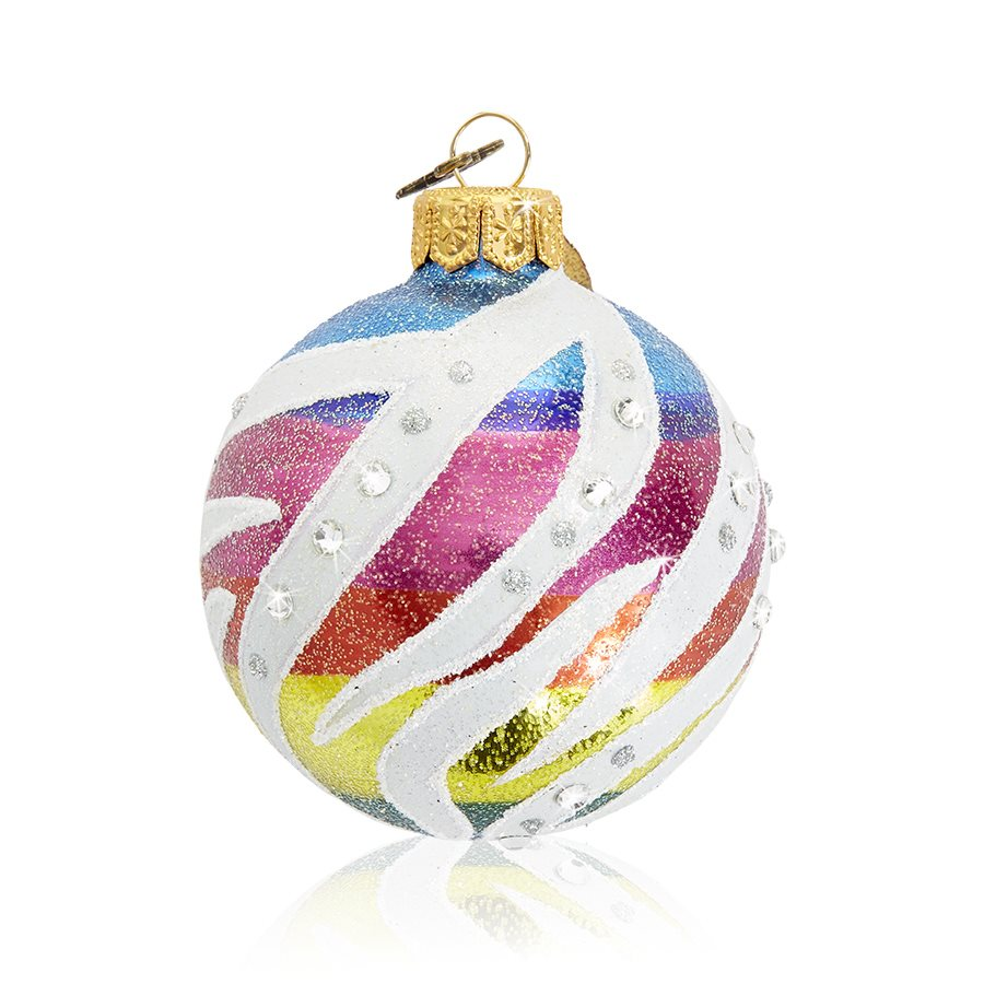 "Jay Strongwater Rainbow Zebra Pattern 3"" Glass Ornament SDH20004-202"