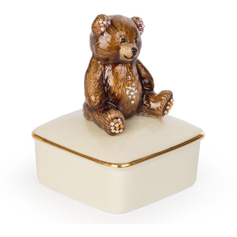 Jay Strongwater Roman Teddy Bear Porcelain Box Natural SDH7372-280