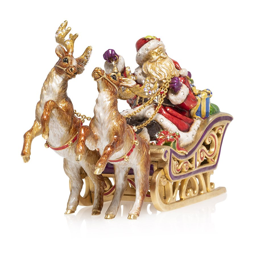 Jay Strongwater Santa and Reindeer Musical Sleigh Figurine SDH1918-250