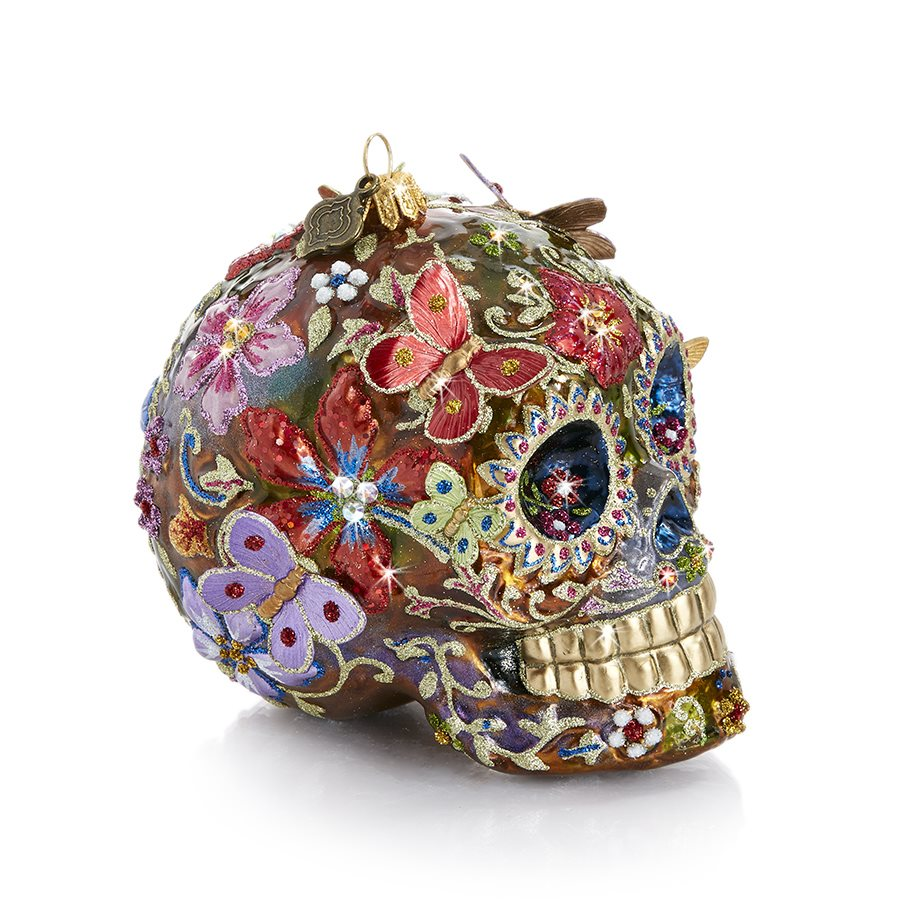 Jay Strongwater Skull With Butterflies Glass Ornament SDH20020-250