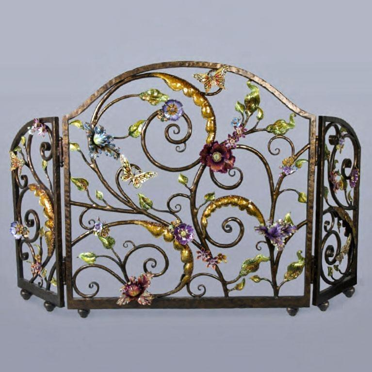 Jay Strongwater Vincente Floral Fireplace Screen SHW3256450