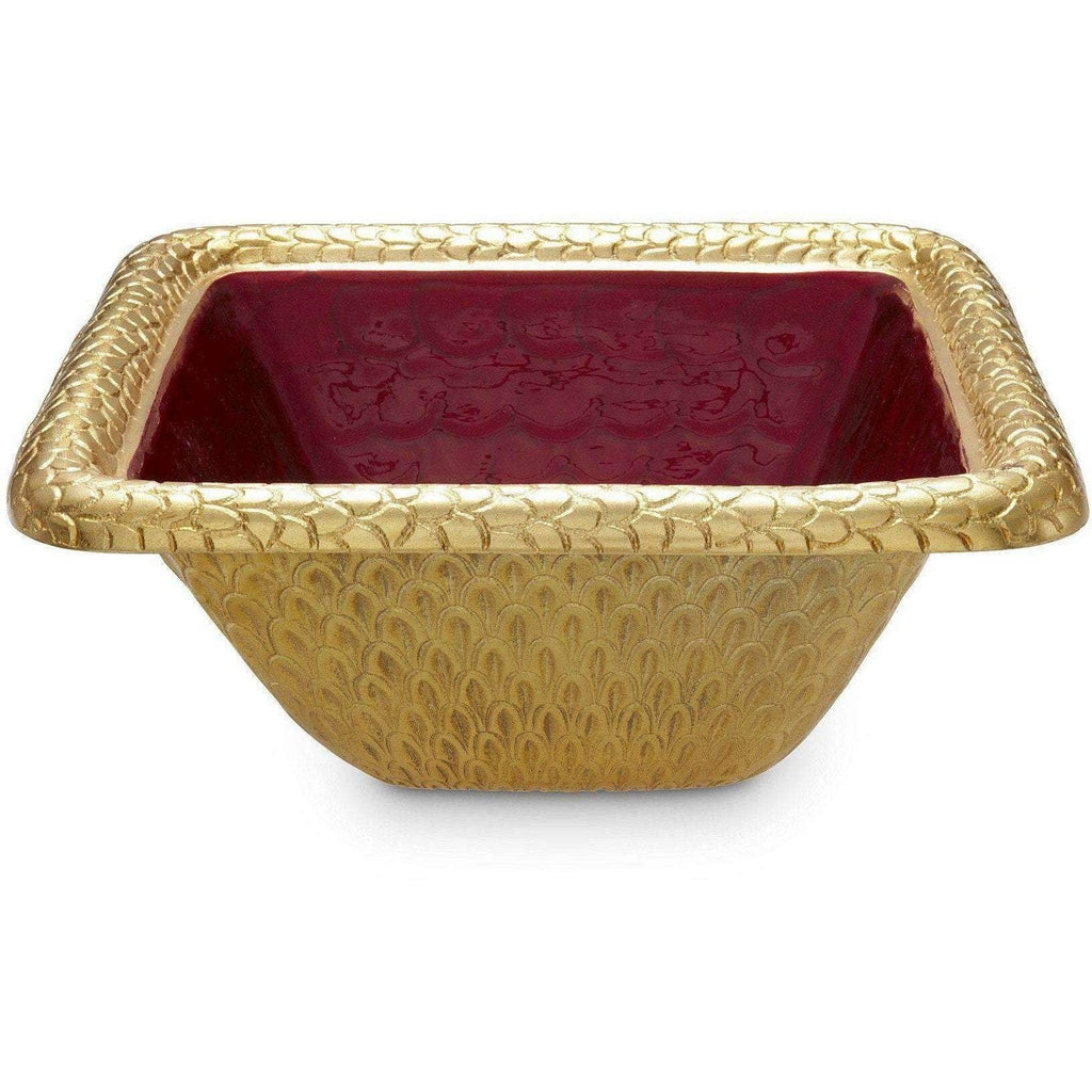"Julia Knight Florentine 10"" Square Bowl Gold Pomegranate 7260340"