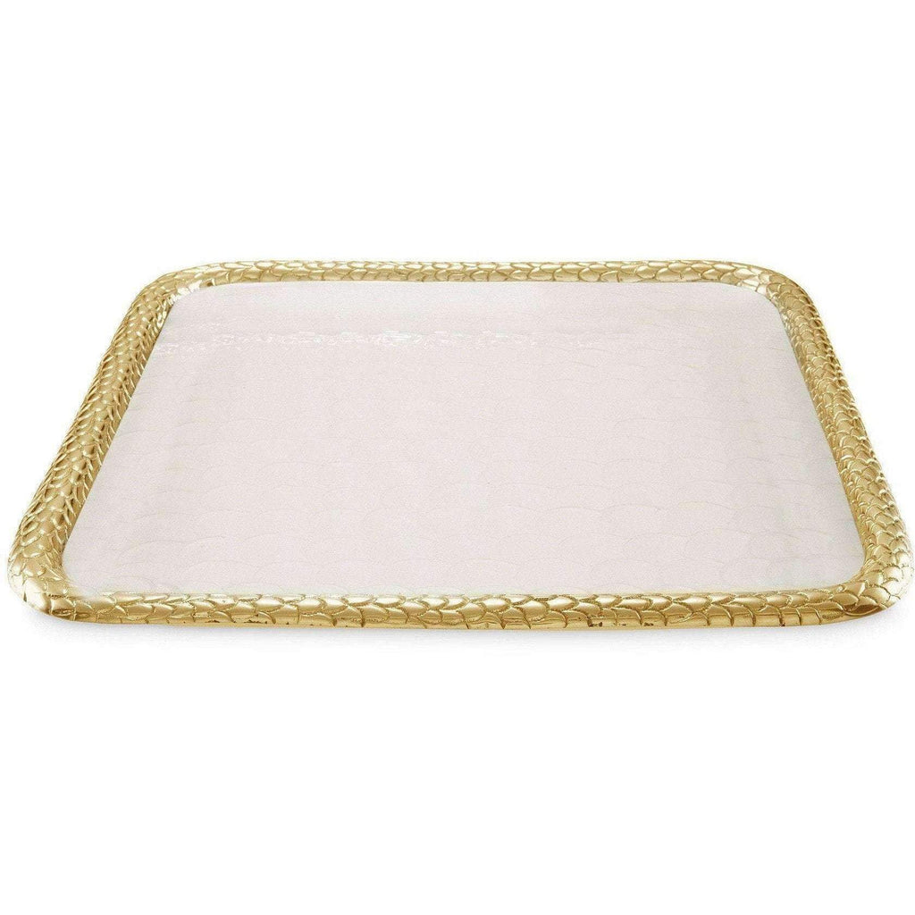 "Julia Knight Florentine 15"" Square Tray Gold Snow 7220315"