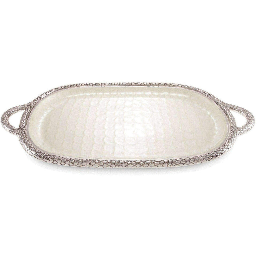 "Julia Knight Florentine 22.5"" Handled Tray Snow 7560015"