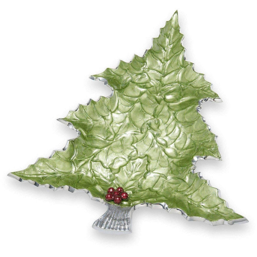 "Julia Knight Holly Sprig 16"" Tree Platter Mojito with Red Berries 7360023"