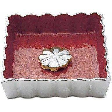 "Julia Knight Peony 5"" Cocktail Napkin Holder Pomegranate 4030040"