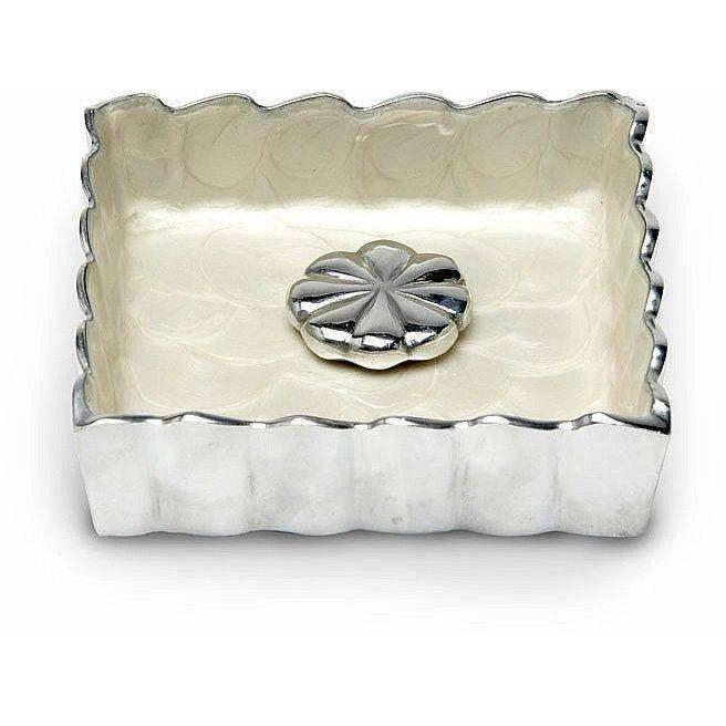 "Julia Knight Peony 5"" Cocktail Napkin Holder Snow 4030015"