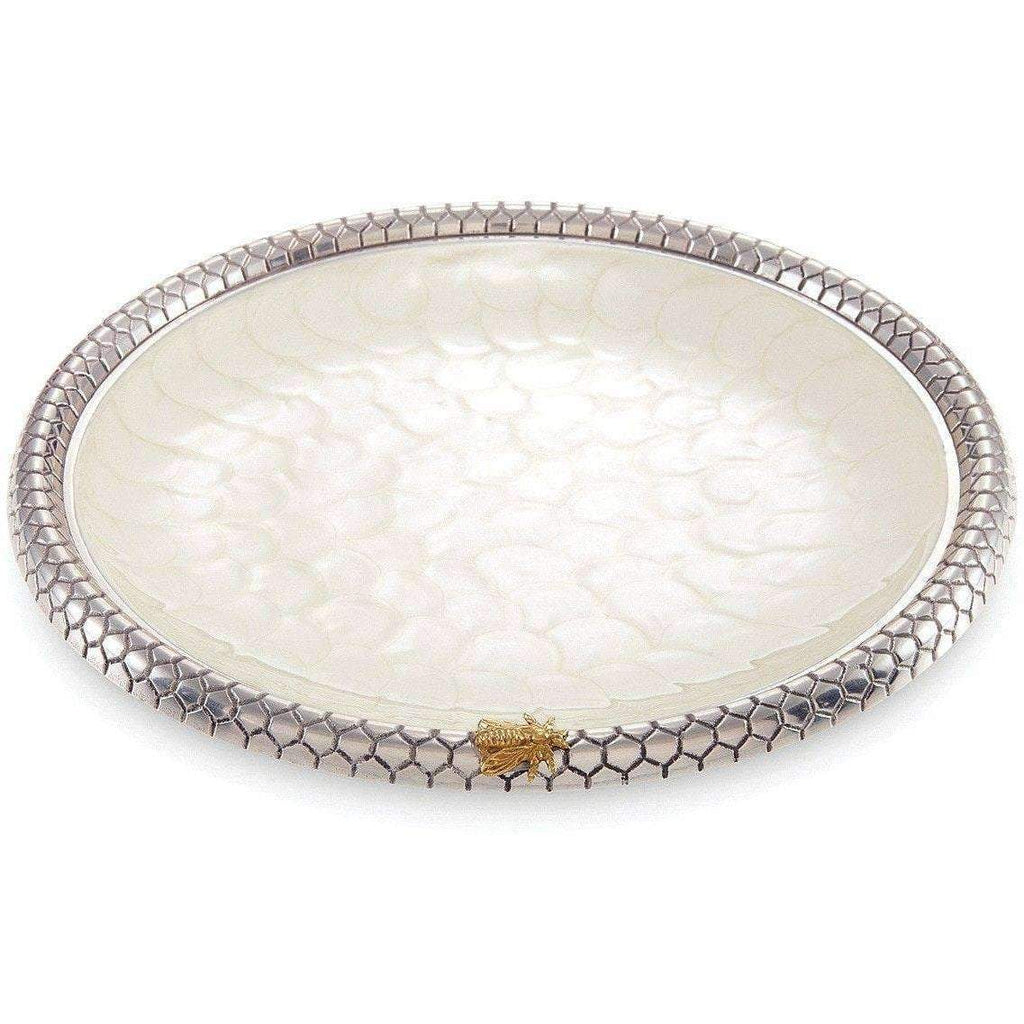"Julia Knight Queen Bee 13"" Round Tray Snow 7510015"