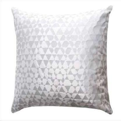 Kevin O'Brien Metallic Triangles Velvet Pillow TRP-SG-WHI-22
