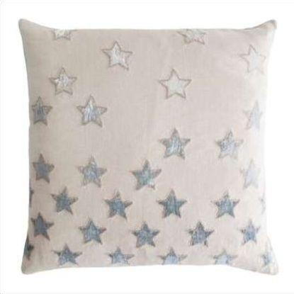 Kevin O'Brien Stars Appliqued Linen Pillow STP-SEA