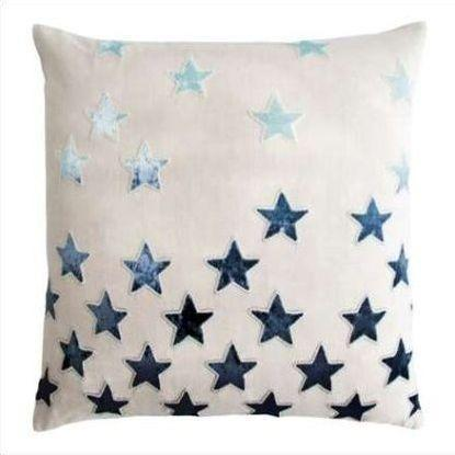 Kevin O'Brien Stars Appliqued Linen Pillow STP-TWI