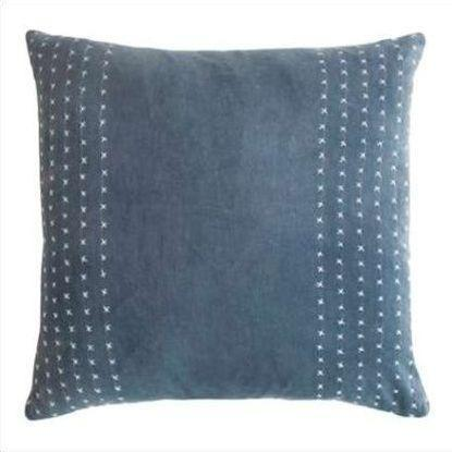 Kevin O'Brien Stripe Stitched Cotton Velvet Pillow STCV-AZ