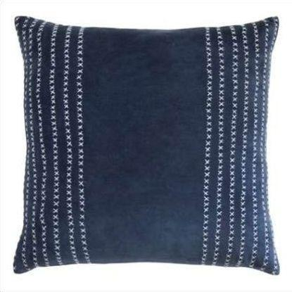 Kevin O'Brien Stripe Stitched Cotton Velvet Pillow STCV-IND
