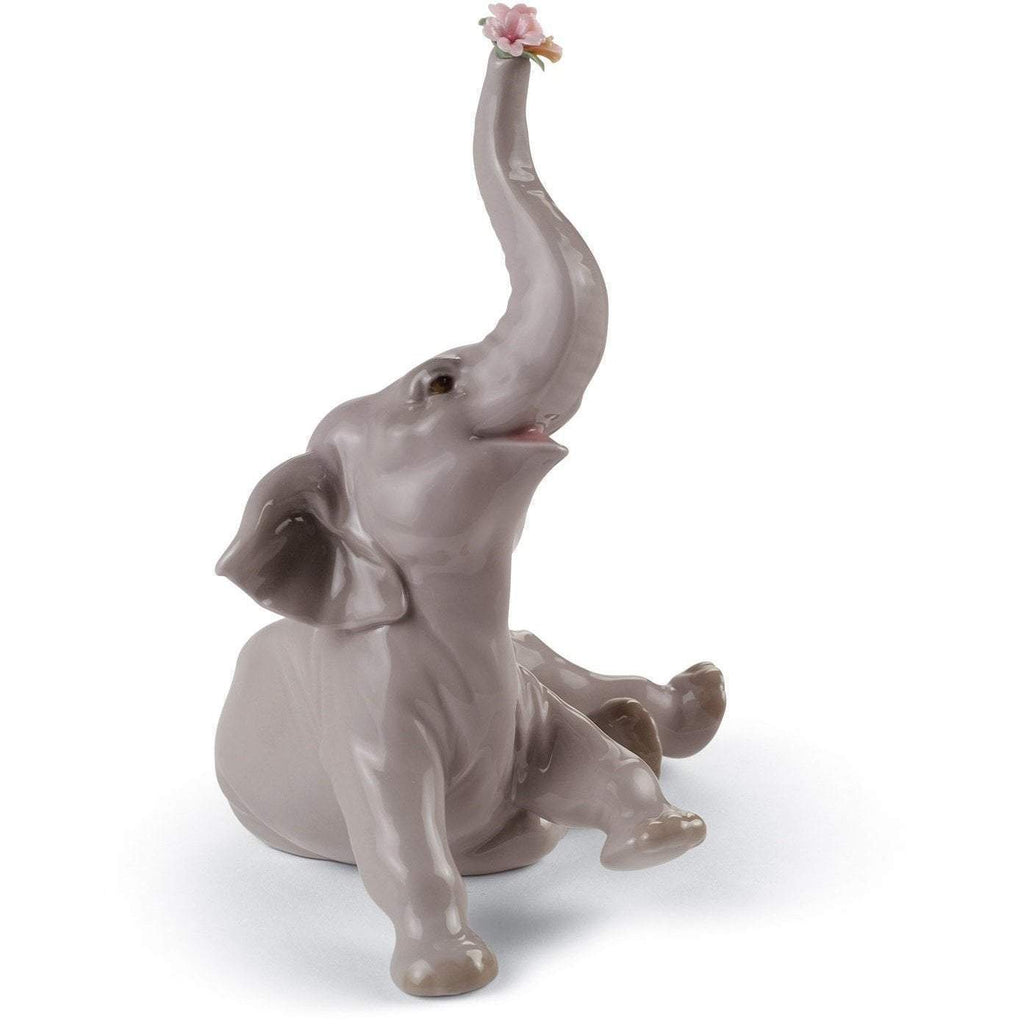 Lladro Baby Elephant With Pink Flower Figurine 01008491