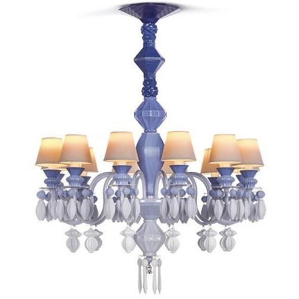 Lladro Belle De Nuit Chandelier Blue 12 Lights 01023249