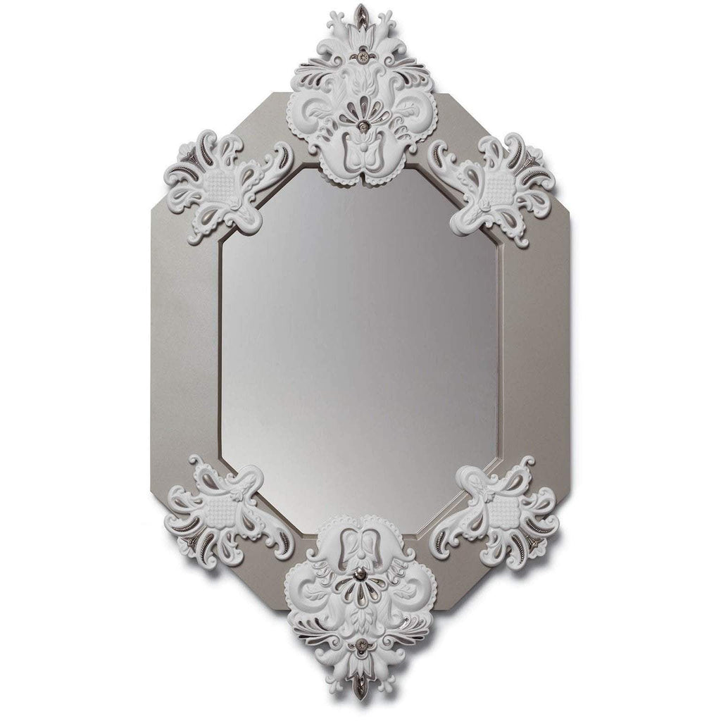 Lladro Eight Sided Mirror White Silver 01007781