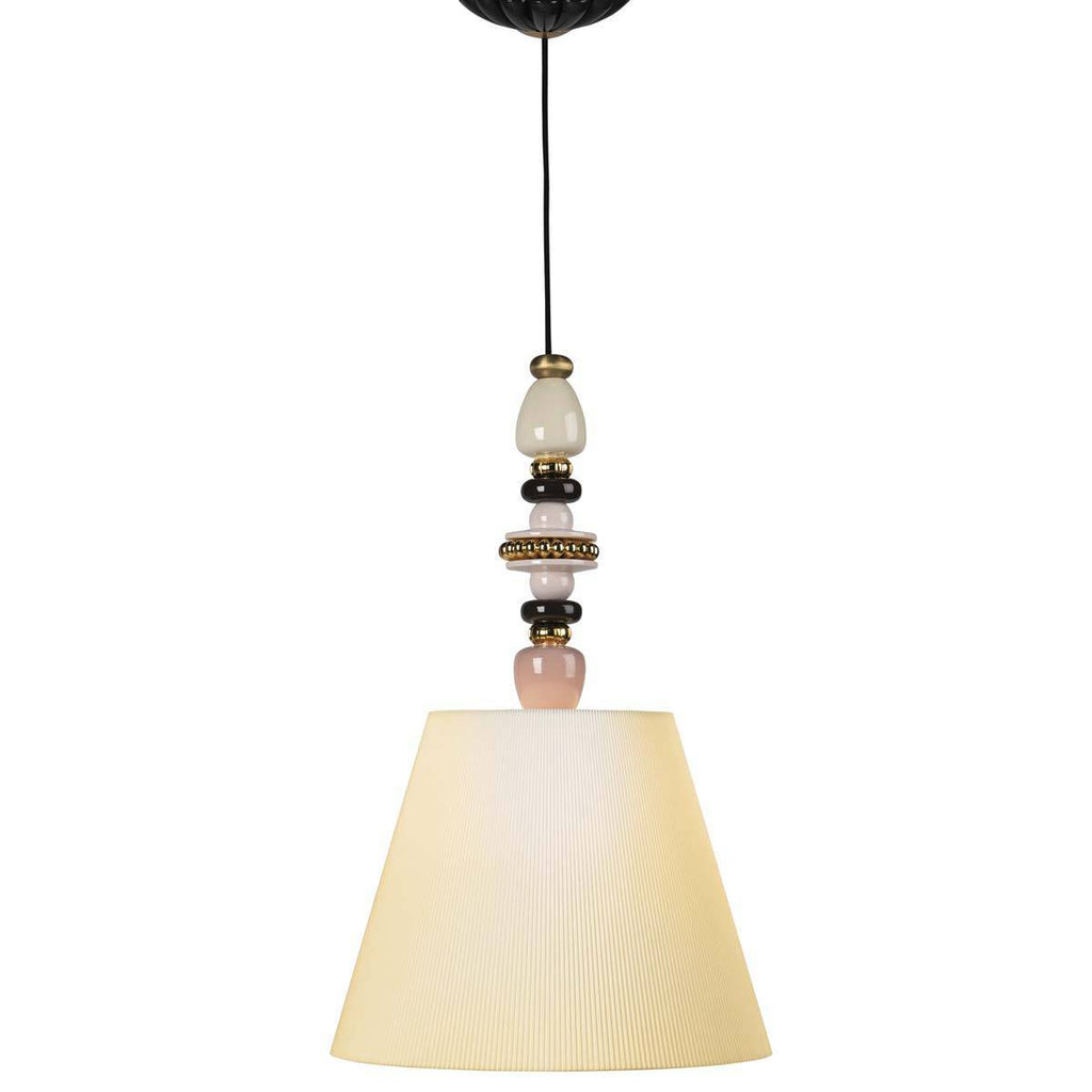 Lladro Firefly Ceiling Lamp Pink and Golden Luster 01024000