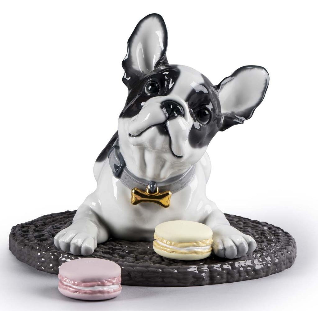 Lladro French Bulldog with Macarons Dog Figurine 01009398