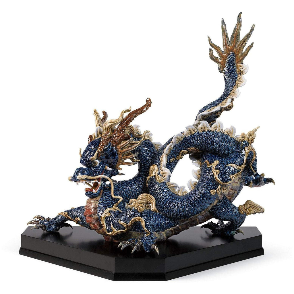Lladro Great Dragon Blue Enamels 01001935