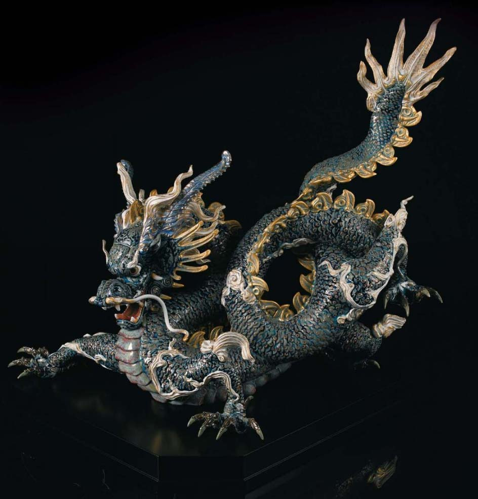 Lladro Great Dragon Blue And Golden 01001934