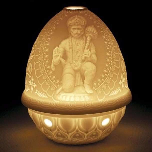 Lladro Hanuman Lithophane Votive Rechargeable Led 01017377