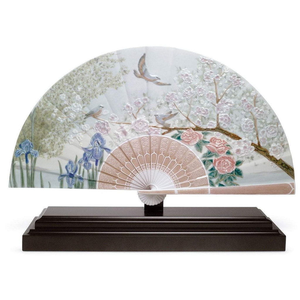 Lladro Iris And Cherry Flowers Fan Figurine 01001936