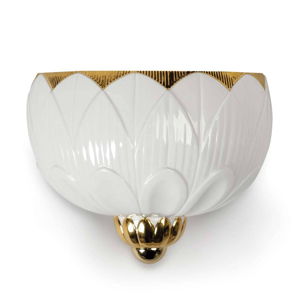 Lladro Ivy & Seed Wall Sconce White and Gold 01023993