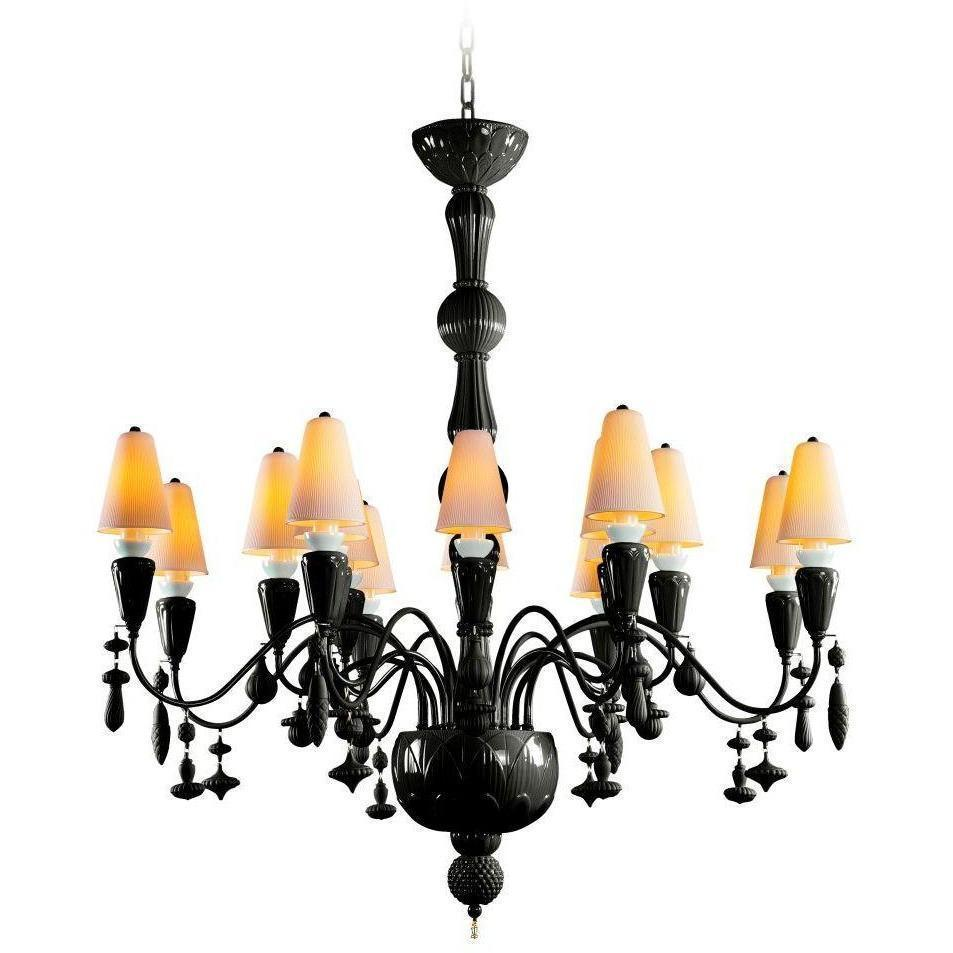 Lladro Ivy & Seed 16 Light Absolute Black Chandelier 01023868