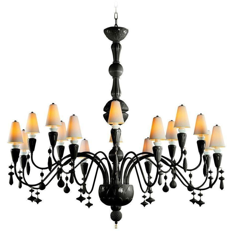 Lladro Ivy & Seed 16 Light Absolute Black Chandelier 01023886